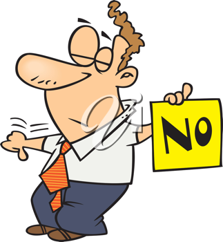Royalty Free Clipart Image of a Man Holding a Sign Reading No