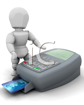 3D RENDER OF A MAN WITH CREDIT CARD