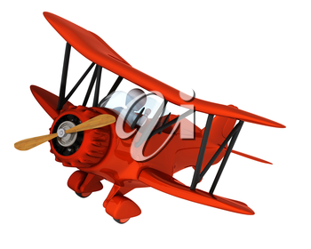3D render of a man flying a vintage biplane