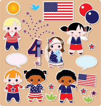 Royalty Free Clipart Image of Little Characters and American Flags