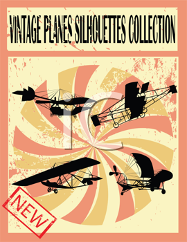 Royalty Free Clipart Image of Vintage Plane Silhouettes