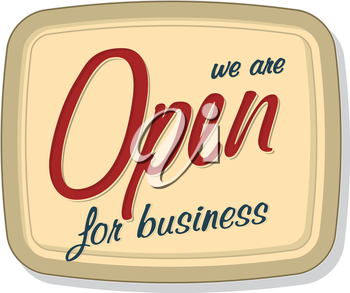 Vintage open sign over white background