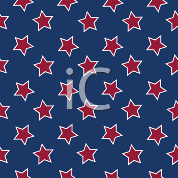 american flag stars background, abstract seamless pattern; vector art illustration