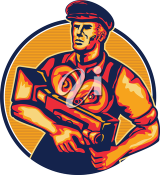 Illustration of a cameraman movie director holding cradling vintage camera set inside circle done in retro style.