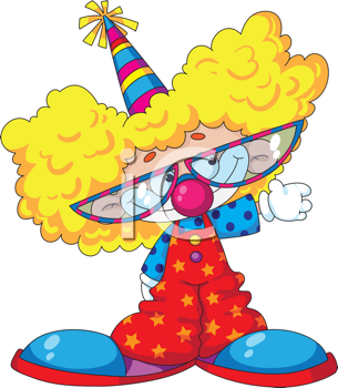 illustration of a funny kid clown and glasses