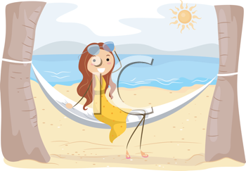 Royalty Free Clipart Image of a Girl Sitting in a Hammock