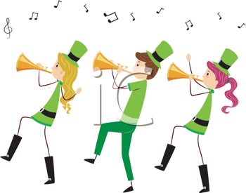 Royalty Free Clipart Image of Three People in St. Patrick's Costumes Playing Horns