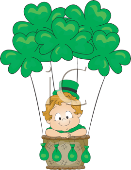 Royalty Free Clipart Image of a Child in a Shamrock Hot Air Balloon