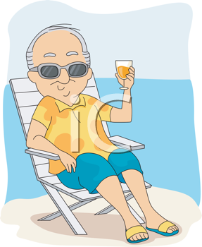 Royalty Free Clipart Image of an Older Man on the Beach