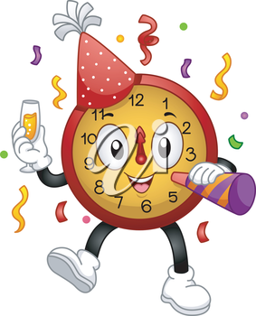 Royalty Free Clipart Image of a Clock Mascot for New Year's