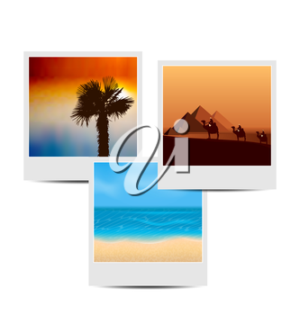Illustration photoframes with summertime background - vector