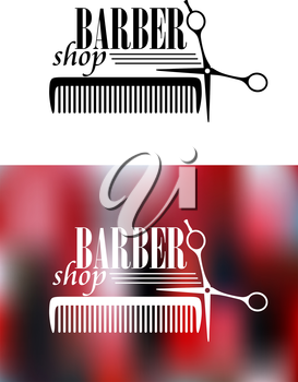 Retro barber shop icon with comb and scissors for service industry design