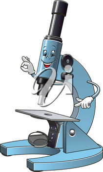 Cartoon smiling microscope mascot character pointing at specimen slide and showing sign OK for laboratory equipment or school concept design
