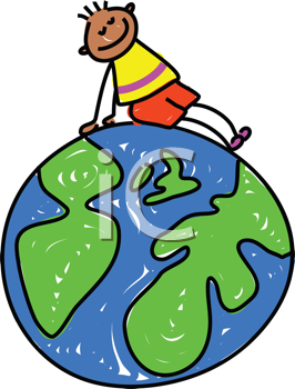 Royalty Free Clipart Image of a Boy on a Globe