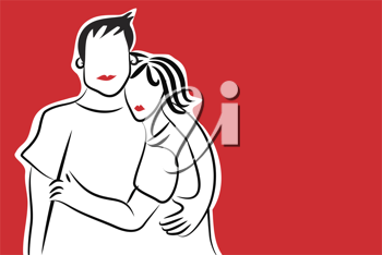 Royalty Free Clipart Image of a Couple Hugging