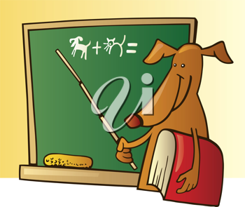 Royalty Free Clipart Image of a Dog at a Blackboard