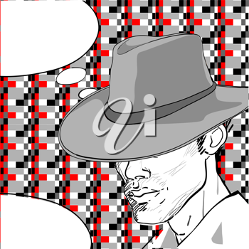 comic style drawing of a man with a retro hat over a pixel art background and a speech bubble for your text