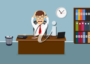 Busy businessman sitting at the table in the office and has a lot telephone calls at the same time. Cartoon flat style