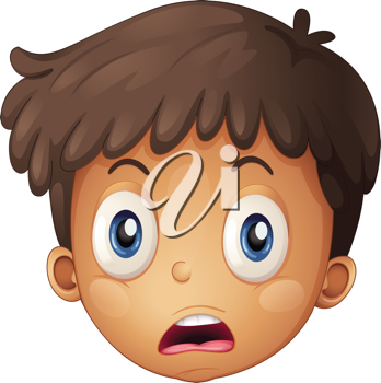 Illustration of a face of a boy on a white background