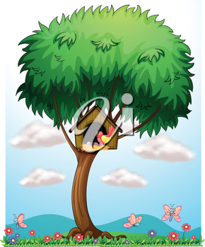 Illustration of a bird in a tree with a bird house on a white background