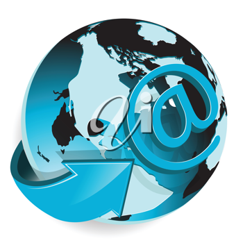 Royalty Free Clipart Image of a Global Email Concept