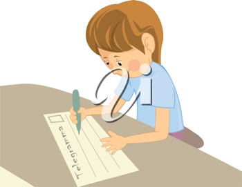Royalty Free Clipart Image of a Little Boy Writing a Note to His Grandma