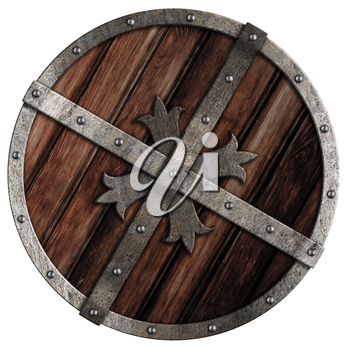 Old crusader wooden shield with metal border isolated on white