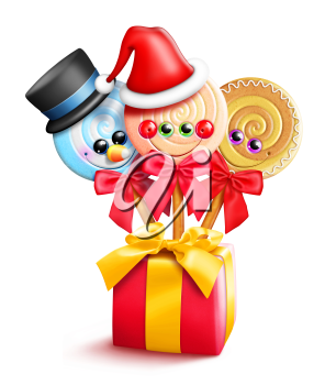 Royalty Free Clipart Image of a Present With Suckers