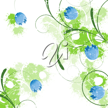 Royalty Free Clipart Image of a Blue Flower Background