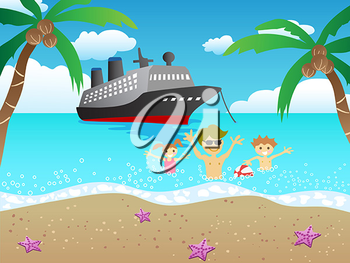 Royalty Free Clipart Image of People on the Beach