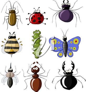 Royalty Free Clipart Image of a Set of Insects