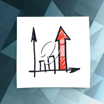 Red success arrow on abstract business background. Vector, EPS10