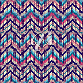 Retro Colorful Style Seamless Knitted Pattern. Beautiful Red Blue Yellow Pink Color Knit Texture