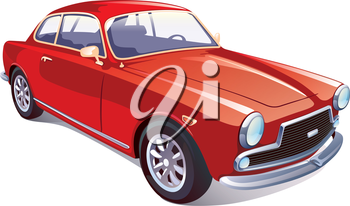 The vector image of the great rare retro vehicle painted in a red color on a white background.