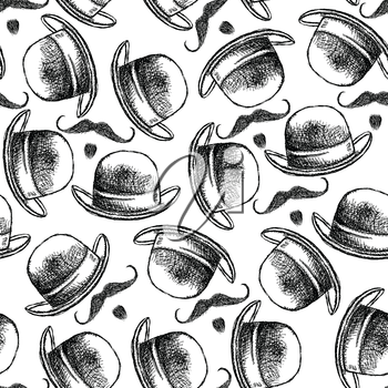 Sketch hat and mustache, cute vintage background