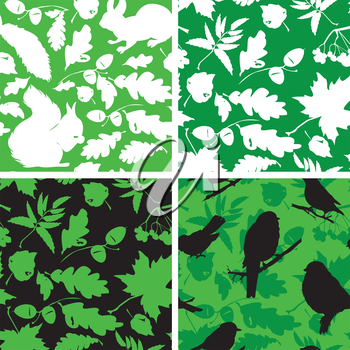 Set of Seamless patterns with birds, leaves and squirrel silhouettes. Ready to use as swatch.