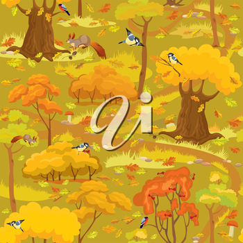 Seamless pattern - Autumn Forest Landscape with trees, mushrooms, birds and squirrels. Ready to use as swatch.