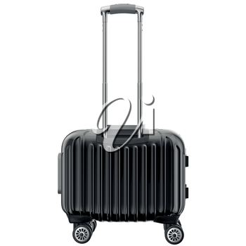 Travel luggage black, back view. 3D graphic object isolated on white background
