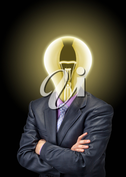 Portrait of businessman with glowing bulb instead of the head