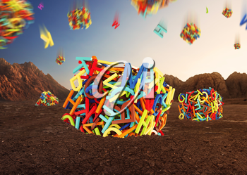 Random multicolored letters forming cubes in space