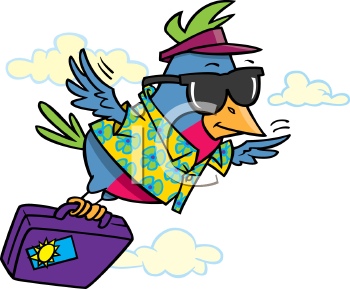Royalty Free Clipart Image of a Vacationing Bird Flying with a Suitcase