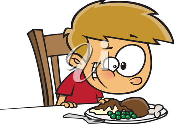 Royalty Free Clipart Image of a Boy Eating a Turkey Dinner
