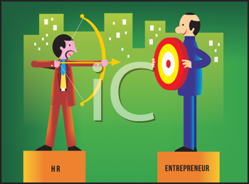 Royalty Free Clipart Image of an HR Rep Shooting at an Entrepreneur Holding a Target
