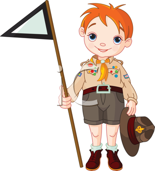Young  happy boy scout  holding a flag
