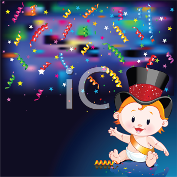 Celebrations! Illustration of New Year Baby and streaming party confetti