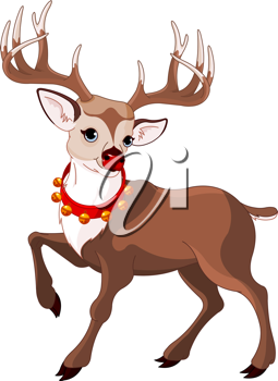 Illustration of beautiful cartoon reindeer Rudolf