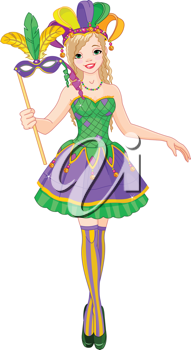 Illustration of beautiful Mardi Gras girl holding mask