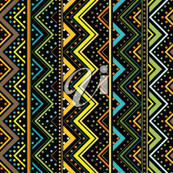 Vertical zig zag made by dots and lines, seamless background