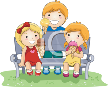 Royalty Free Clipart Image of Three Children With Ice Cream Cones