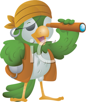 Royalty Free Clipart Image of a Pirate Parrot